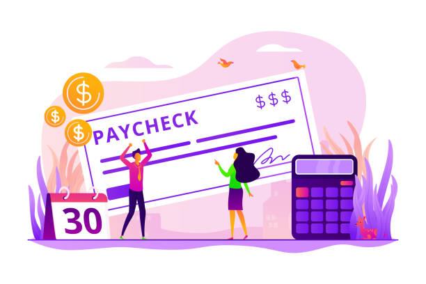 paycheck-konzept-vektor-illustration - maul stock-grafiken, -clipart, -cartoons und -symbole