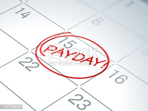 Payday calendar written reminder circled.
