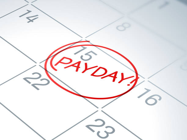 Payday Calendar Reminder Payday calendar written reminder circled. wages stock illustrations