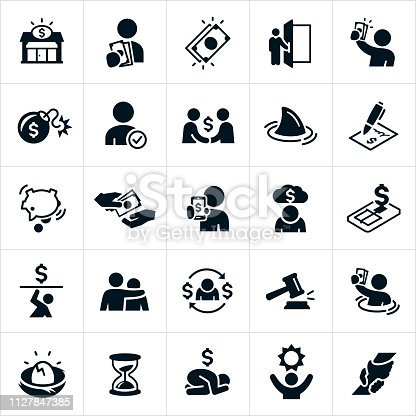 A set of icons representing the popular but controversial Payday Loan industry. The icons also represent the debt associated with this industry. The icons include a payday lender, payday loan, cash, being paid, money, bomb, approval, shark, contract, debt, trap, debt burden, gavel, sinking in debt, broken nest egg, hourglass, sadness, hope and rescue among other concepts.