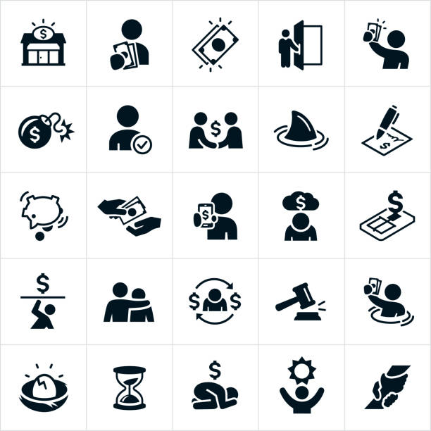stockillustraties, clipart, cartoons en iconen met betaaldaglening en schuld pictogrammen - faillissement