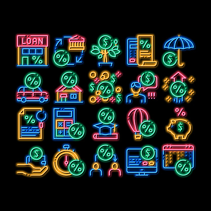 Payday Loan neon glow icon illustration