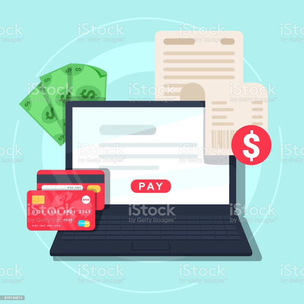 Paying bill online. Online Money Transaction Concept. Payment on internet concept. vector art illustration