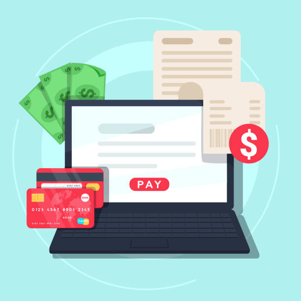 paying bill online. online money transaction concept. payment on internet concept. - płacić stock illustrations