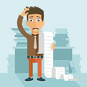 Paying bills and taxes concept. Man worried about his bills. Flat vector illustration