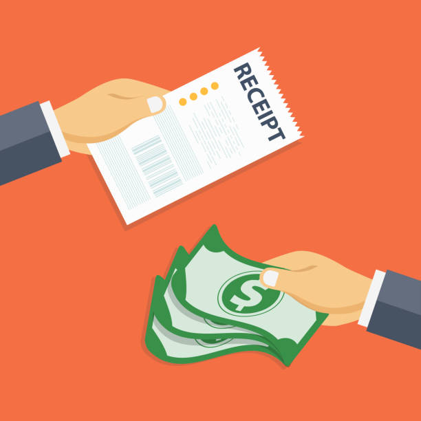 paying bills concept. one hand giving receipt bill and another hand giving cash money. flat vector illustration for finances - dollar bill stock illustrations