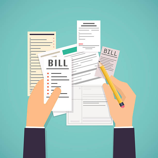 Paying bills. Hands holding bills and pencil. Payment of utility vector art illustration