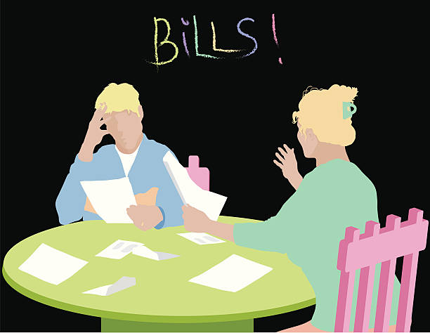 ilustrações de stock, clip art, desenhos animados e ícones de pagar contas de stress - bills couple
