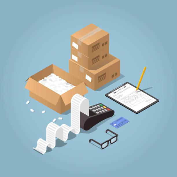zahlung für online-kauf-illustration - kassenbon stock-grafiken, -clipart, -cartoons und -symbole