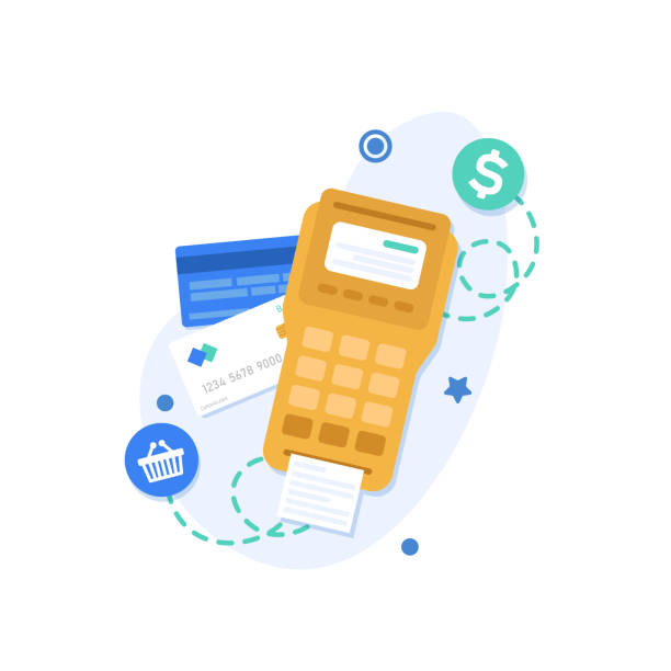 оплата кредитной картой с помощью pos-терминала, утвержденный платеж - credit card stock illustrations
