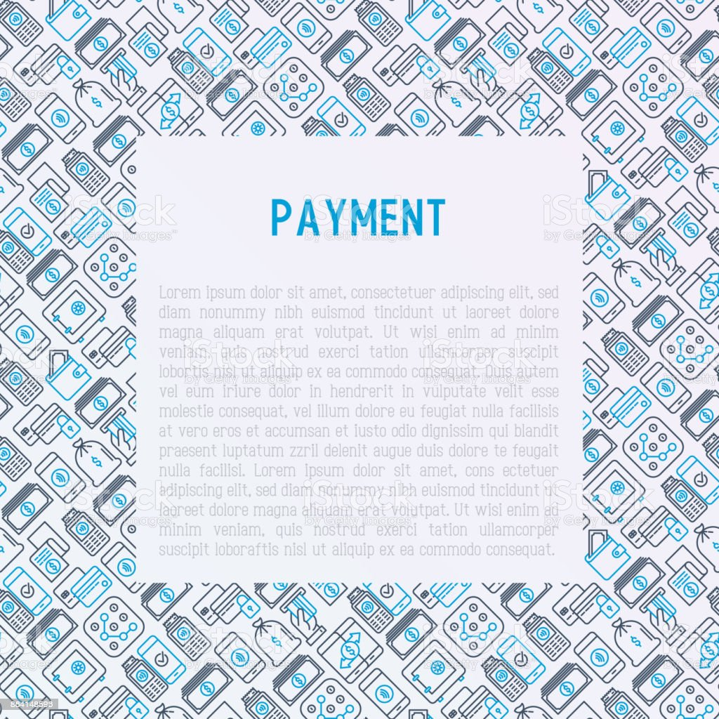 Payment concept with thin line icons related to credit card, money flow, saving, atm, mobile payment. Vector illustration of banner, web page, print media. royalty-free payment concept with thin line icons related to credit card money flow saving atm mobile payment vector illustration of banner web page print media stock vector art & more images of atm