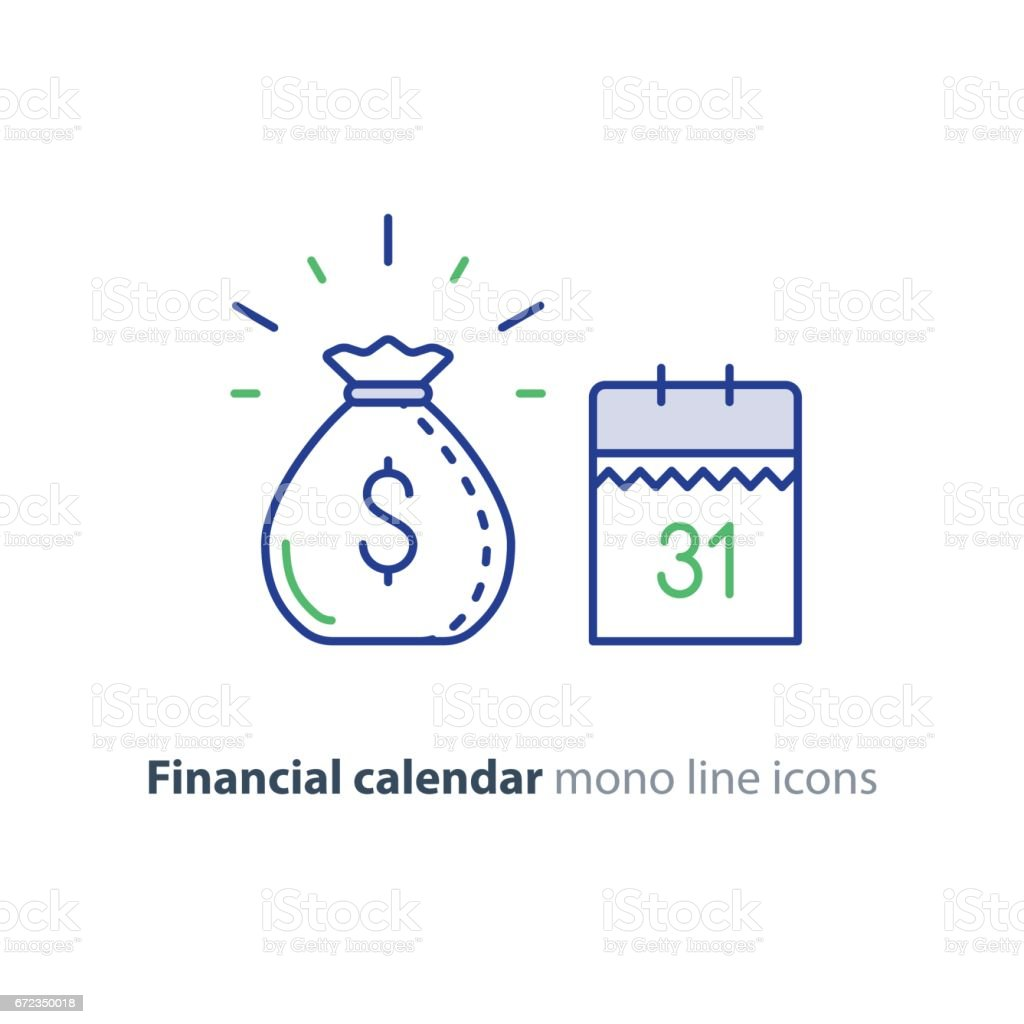 Payment day, finance calendar icon, income dividend, long term investment vector art illustration