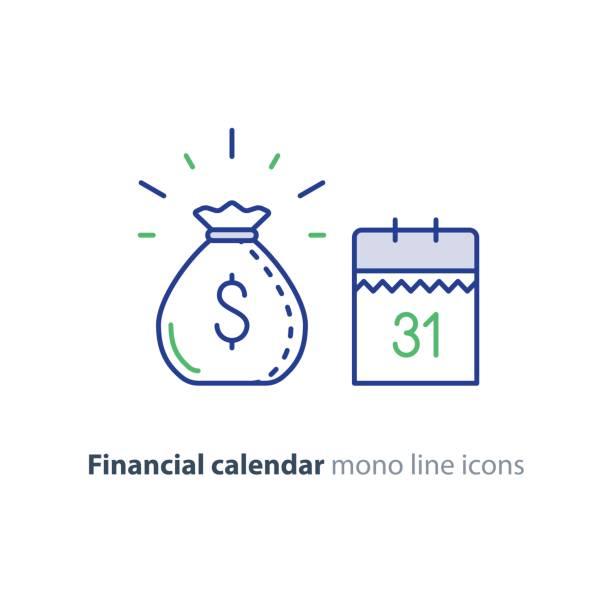 ödeme günü, finans takvim simgesini, gelir temettü, uzun vadeli bir yatırım - yıllık olay stock illustrations