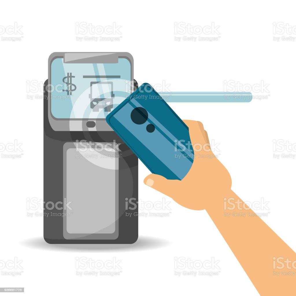 Concepto de diseño de pago NFC - ilustración de arte vectorial