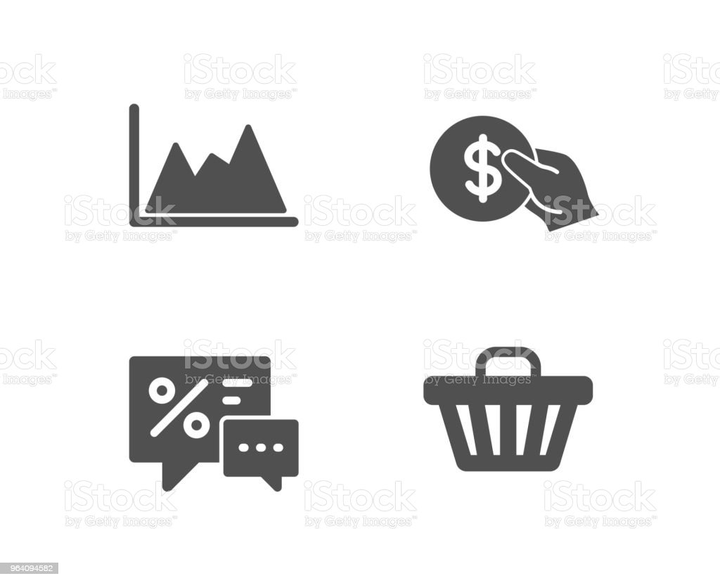 Payment, Discounts and Diagram icons. Shop cart sign. Usd coin, Best offer, Growth graph. Web buying. - Royalty-free ATM stock vector