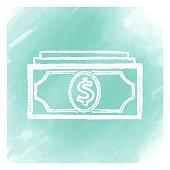 Vector dollar bill doodle sketch over watercolor background.