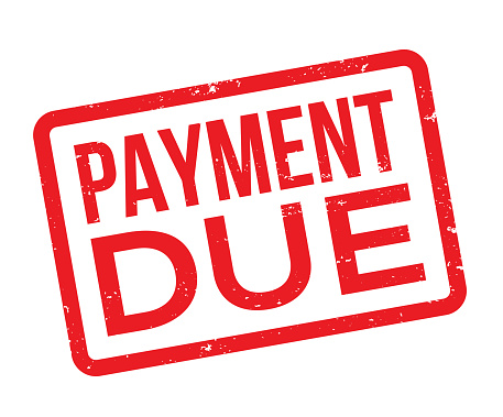 Payment due red stamp.