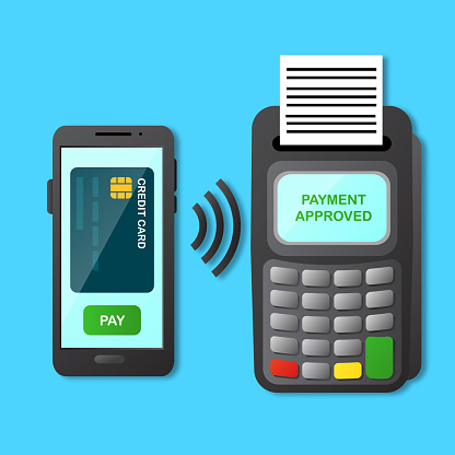Payment from smartphone to pos terminal stock illustration