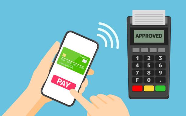 stockillustraties, clipart, cartoons en iconen met betaling van smartphone naar pos terminal - mobiele betaling