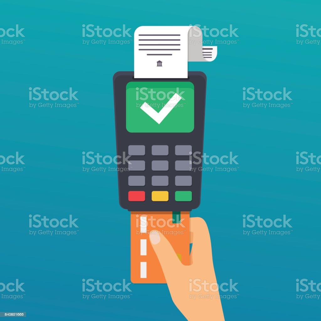 Payment. Hand holding credit card. Illustration of wireless payment by credit card. Flat design modern vector illustration concept. vector art illustration