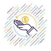 Line vector illustration of cryptocurrency payment.