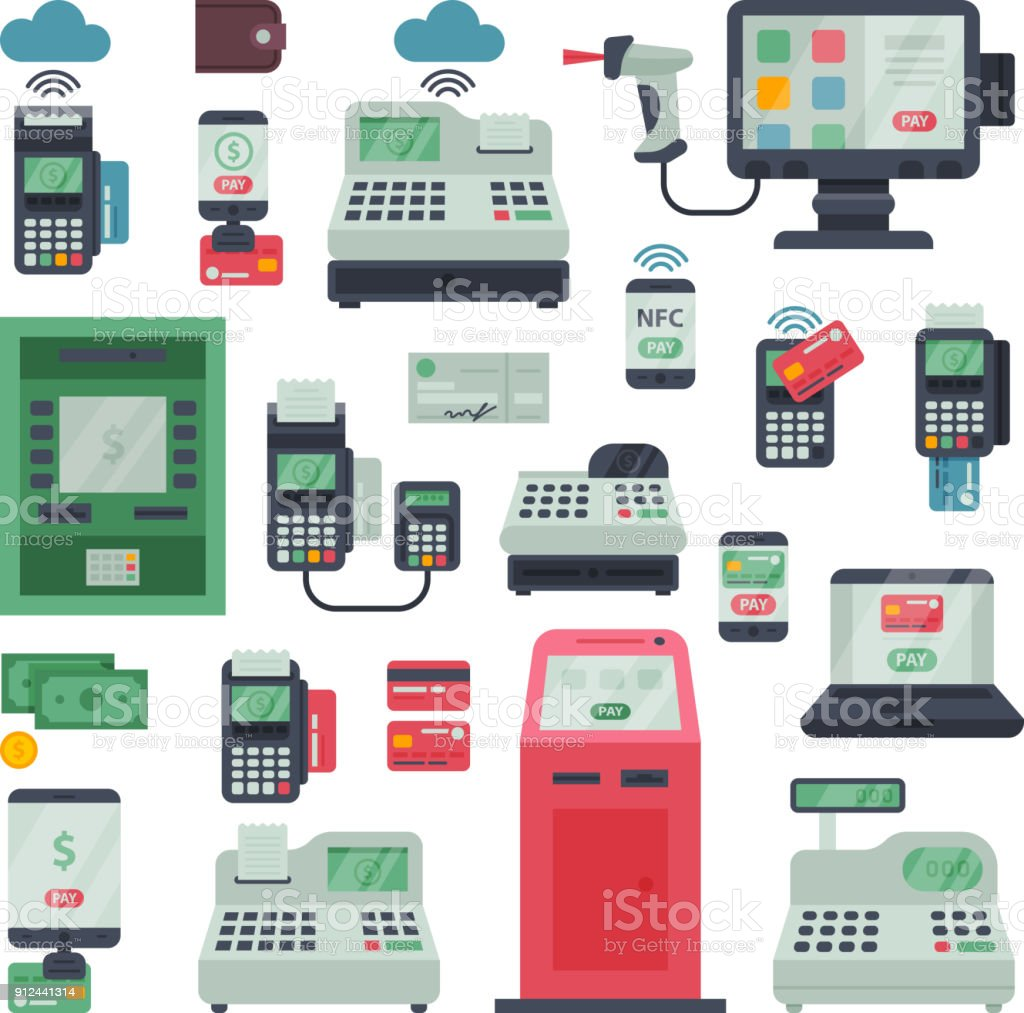 Payment machine vector pos banking terminal and atm bank system for credit card paying through machining cardreader or cash register in store illustration isolated on white background vector art illustration