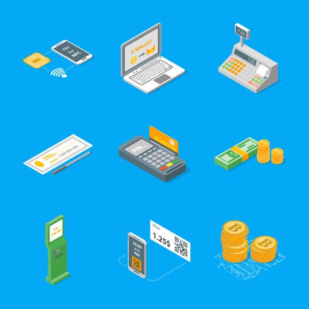 illustrations, cliparts, dessins animés et icônes de icônes de méthodes de paiement définies vue isométrique. vector - terminal aéroportuaire