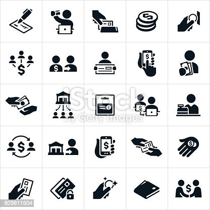 A set of icons related to the different ways to make payments. The icons include cash, money, credit cards, check, gift card, direct transfer, bank transfer and other related icons.