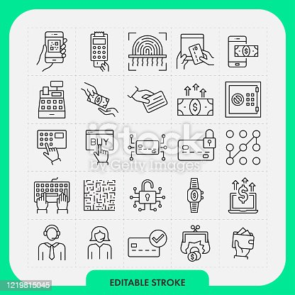 Payment methods line icon set. Editable Stroke