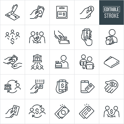 A set of payment methods icons that include editable strokes or outlines using the EPS vector file. The icons include a check, cash, gift card, coins, online payment, credit card reader, credit card, mobile payment, bank payment, money transfer and other related icons.