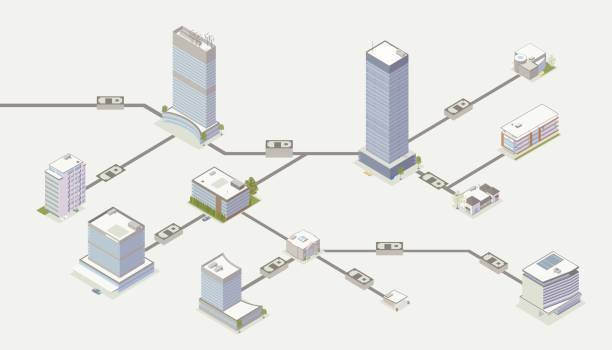 ilustrações, clipart, desenhos animados e ícones de ilustração da rede do pagamento - banco edifício financeiro