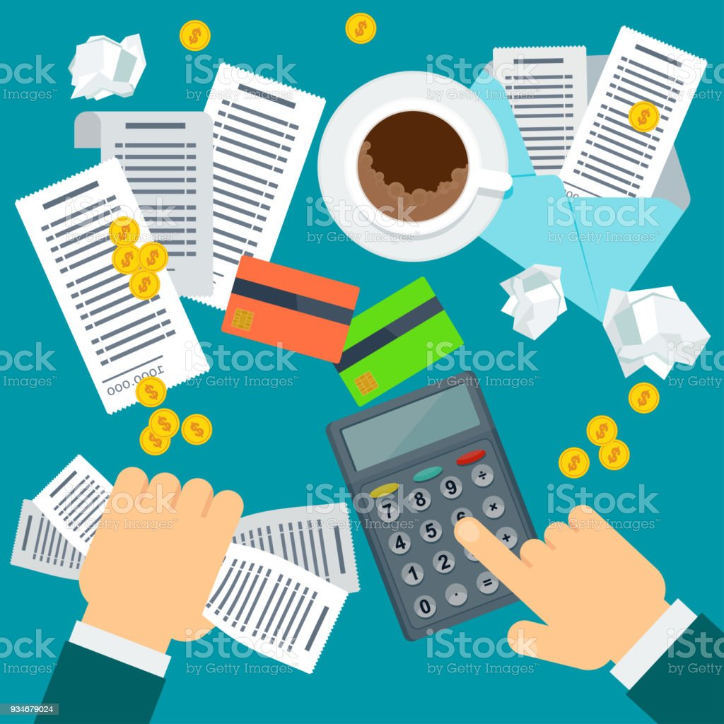 Payment Of Bills Flat Vector Illustration Stock Illustration