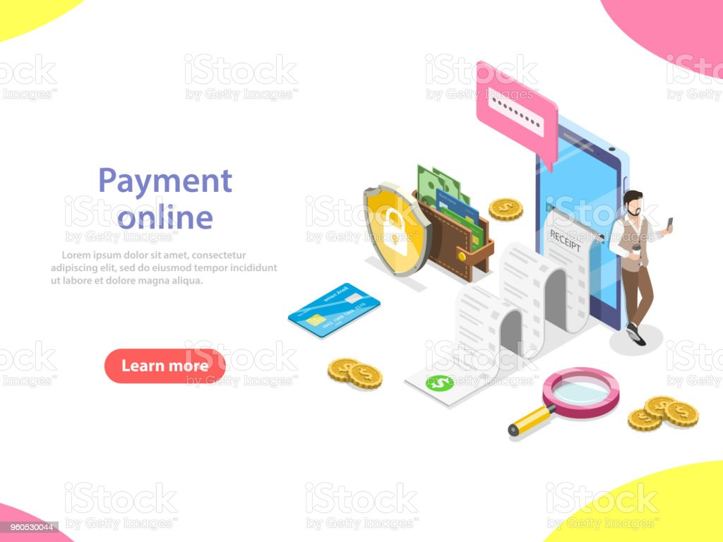 Payment online flat isometric vector concept. vector art illustration