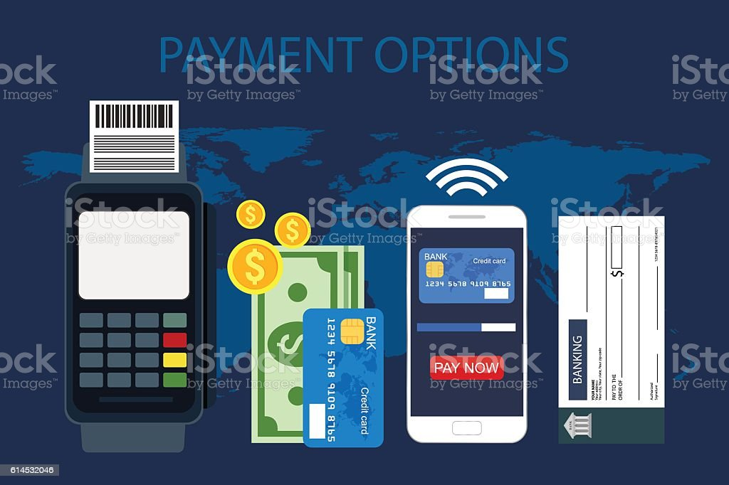 Payment options vector art illustration