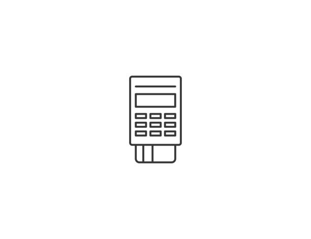 payment pos terminal thin line vector icon - credit card stock illustrations