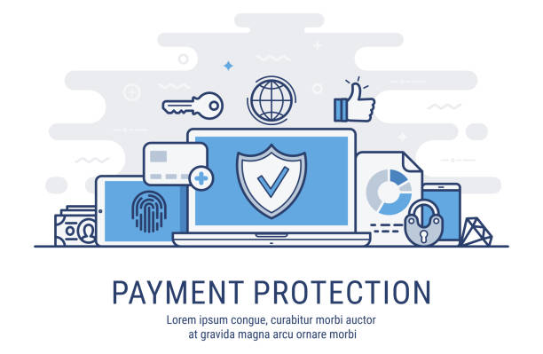 illustrations, cliparts, dessins animés et icônes de illustration vectorielle de paiement protection - security