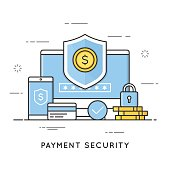 Payment security, data and transactions protection. Flat line art style concept. Editable stroke.