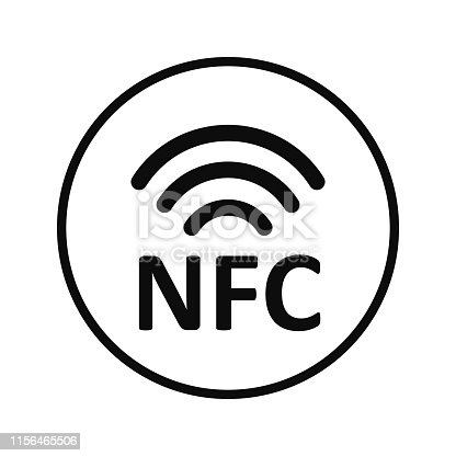 NFC payment technology icon. Near field communication concept, fast payment symbol - vector for stock