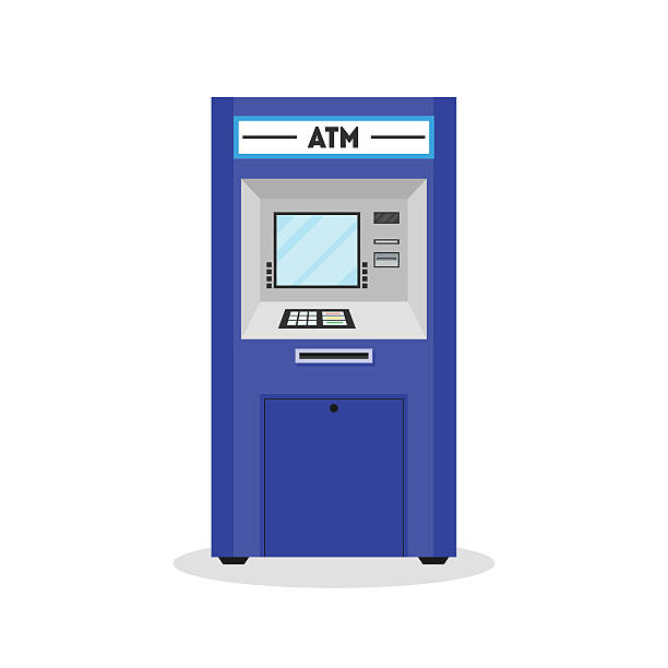 atm payment terminal auto teller machine. vector - geldautomat stock-grafiken, -clipart, -cartoons und -symbole