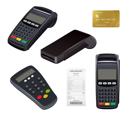 Payment terminal. Closeup money receipt credit card machine for distance payments mobile nfc finance retail banking tools vector