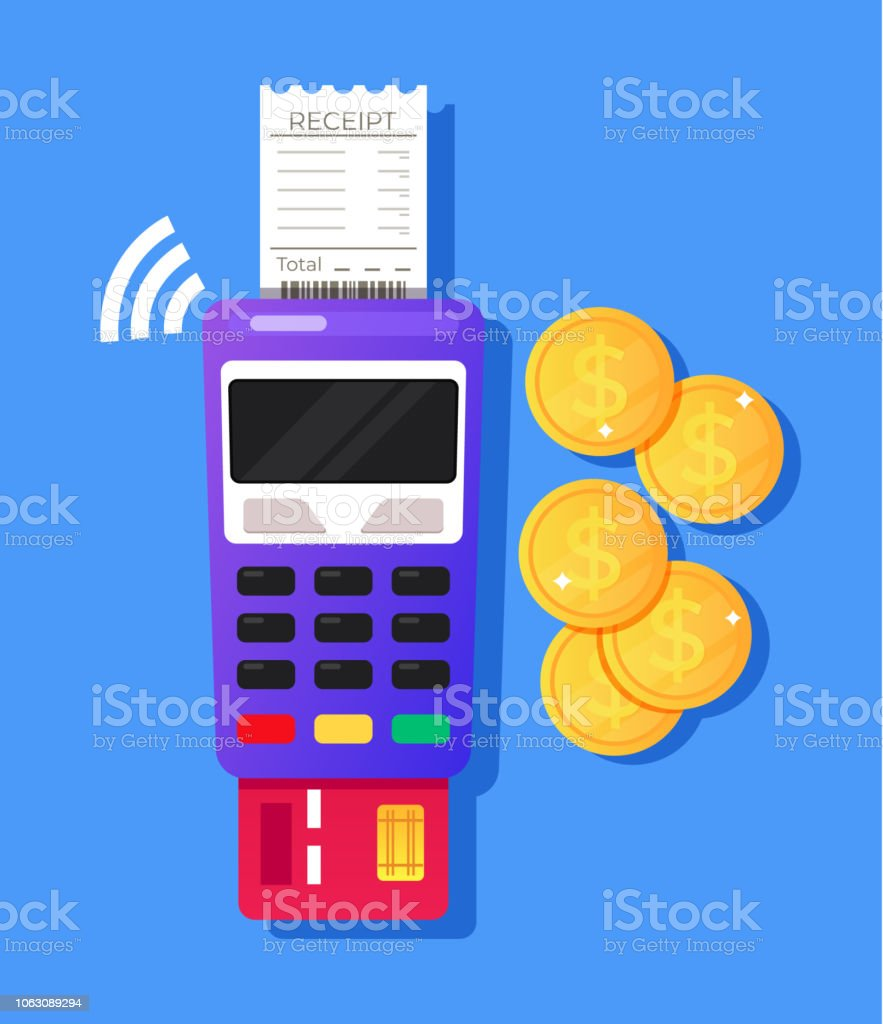 Payment Terminal Pos Reader Machine With Credit Card And
