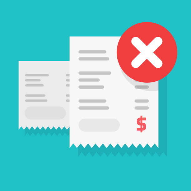 Payment transaction bill declined or money transfer alert or caution error sign vector illustration flat cartoon, receipt with unsuccessful pay check, rejected purchase, bad fraud finance failure vector art illustration