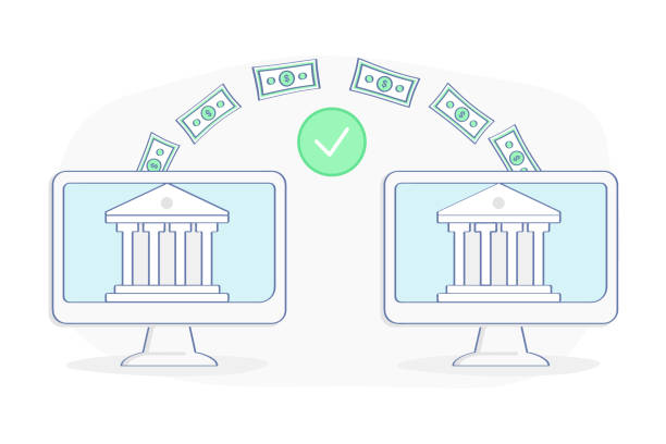 Payment Transfer Money between two banks Payment Transfer Money between two banks, companies, accounts. Sending and Receiving money, Transaction, Savings, Investment. Flat outline vector illustration design. Business concept. transfer image stock illustrations
