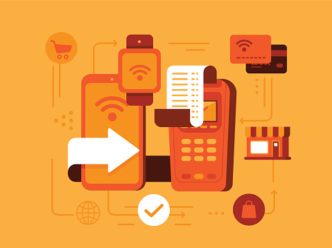 Contactless payment stock illustrations
