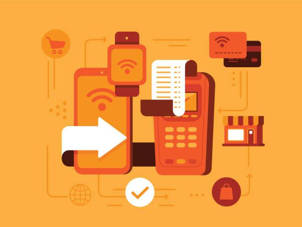stockillustraties, clipart, cartoons en iconen met betaling - mobiele betaling