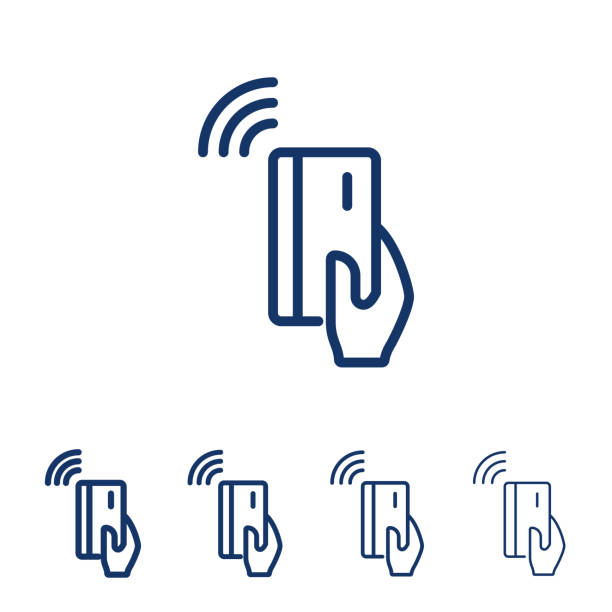 nfc payment vector line icon.hand holding credit/debit card. contactless payment from credit card. - credit card stock illustrations