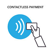 NFC Payment vector outline Icon. Pos terminal confirms contactless payment from credit card. Near-field communication concept.