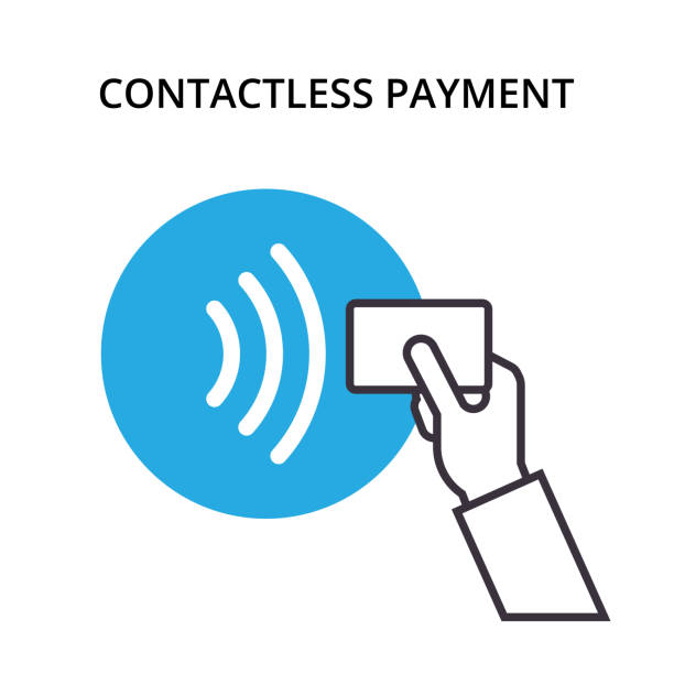 ilustrações de stock, clip art, desenhos animados e ícones de nfc payment vector outline icon. pos terminal confirms contactless payment from credit card. near-field communication concept. - paying with card contactless