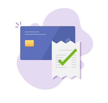Payment via bank credit card vector approved successful with check mark, electronic digital money pay bill invoice transaction, receipt completed concept, idea of valid verified checkout technology