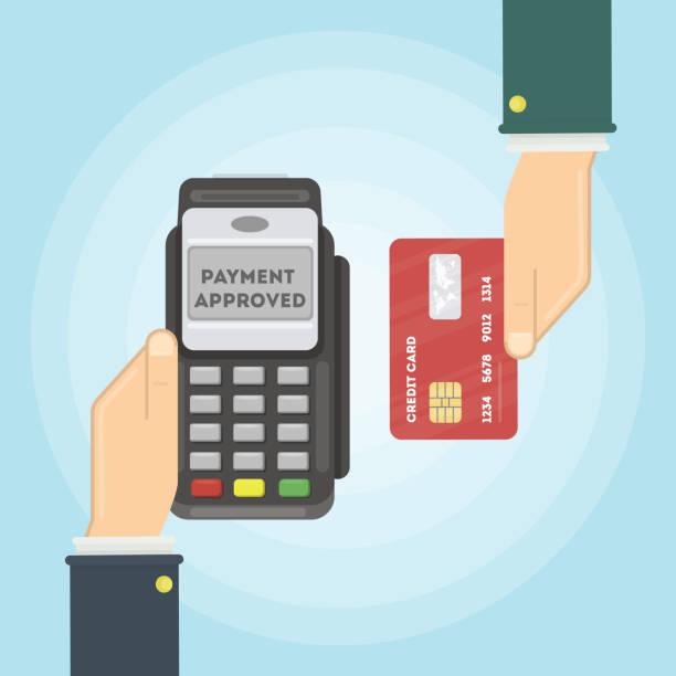 ilustrações de stock, clip art, desenhos animados e ícones de payment with credit card. - paying with card